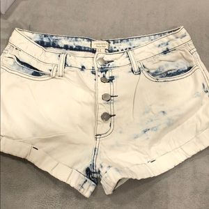 Washed out button up jean shorts